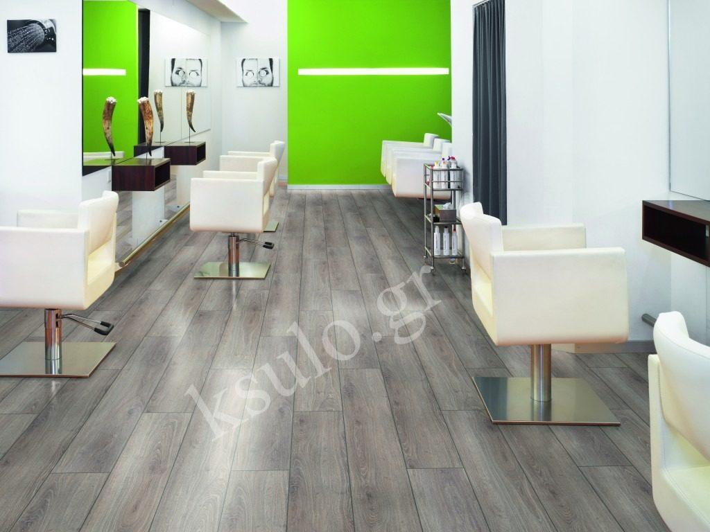 πάτωμα laminate σε επαγγελματικό χώρο κομμωτηρίου.